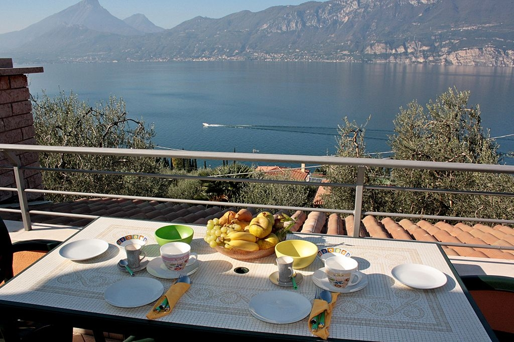 Agriturismo Gardasee Ferienwohnung mit Terrasse für 2 bis 4 Personen - Terrasse Seeblick