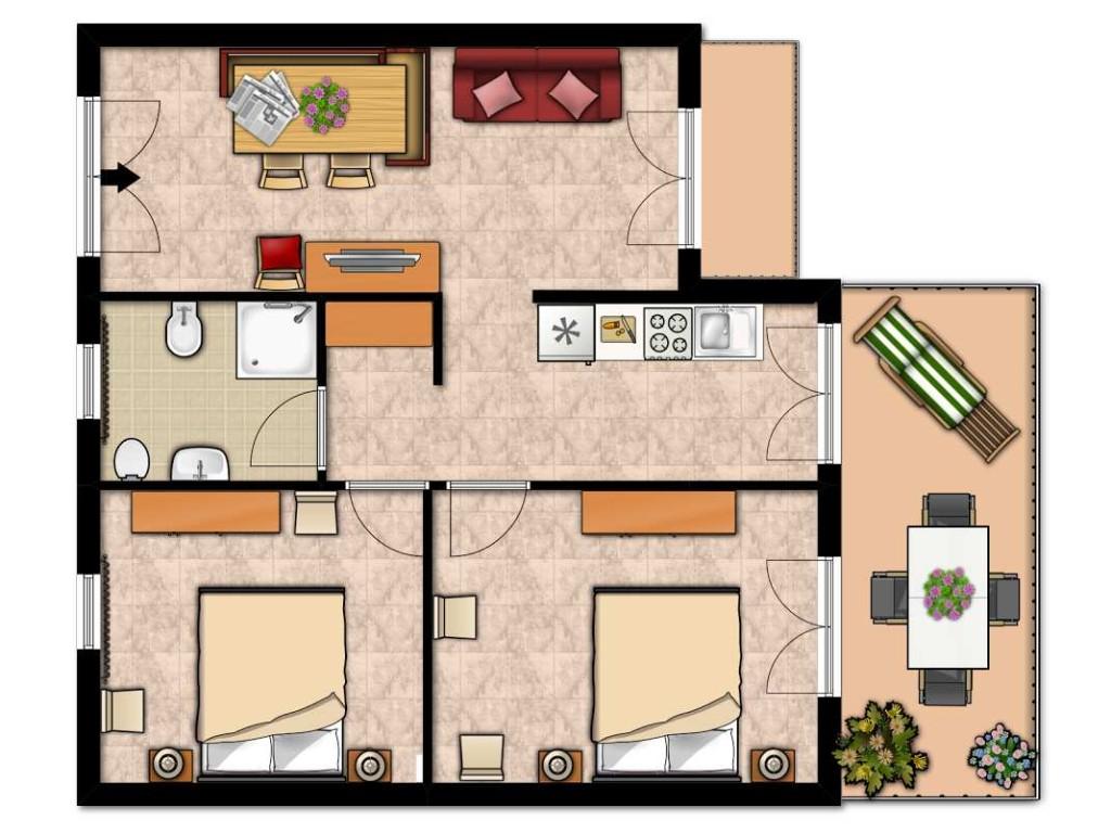 Trilocale uliveta tipo b for Appartamenti con planimetrie